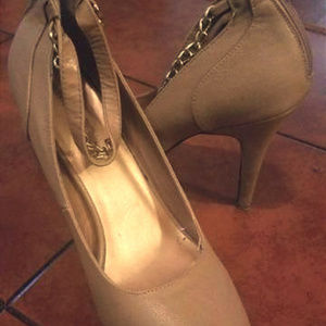 Madeline Girl Tan Ankle wrap heels
